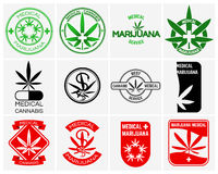 Medical marijuana or cannabis vector logos, labels and emblems set Royalty Free Stock Photography