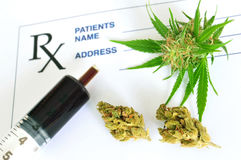 Medical marijuana and hash oil with prescription paper stock image