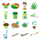 Medical marijuana icons. In cartoon style on white Stock Photos