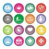 Medical marijuana icons - round icons Royalty Free Stock Image