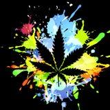 Medical marijuana ink blots. Medical marijuana Cannabis, vector silhouette illustration. ink blots Stock Images