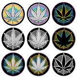 Medical marijuana leaf symbol badges  Royalty Free Stock Photos