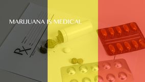 Medical marijuana leaves close up cannabis buds with doctors prescription for weed and pills on white background royalty free illustration