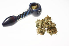 Medical marijuana and pipe Royalty Free Stock Photos