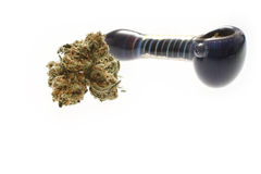 Medical marijuana and pipe Royalty Free Stock Image