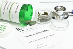 Medical Marijuana. Prescription with bottle and stethoscope Stock Photo