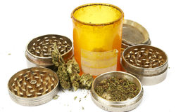 Medical Marijuana, Prescription Rx Pill Bottle and Cannabis Royalty Free Stock Images