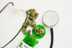 Medical Marijuana Prescription On White Background stock photo