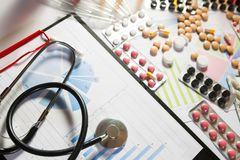 Medical marketing and healthcare business analysis report with graph. Medical marketing and Health care business analysis report. Medical marketing concept Royalty Free Stock Photo