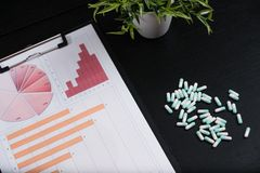 Medical marketing and Health care business analysis report. Pile of pills in blister packs background royalty free stock photos