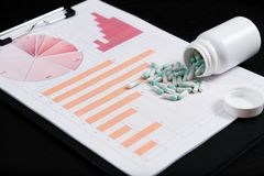 Medical marketing and Health care business analysis report. Pile of pills in blister packs background royalty free stock photo