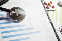 Medical marketing and healthcare business analysis report with g. Medical marketing and Health care business analysis report. Medical marketing concept Stock Photography