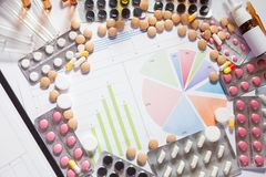 Medical marketing and healthcare business analysis report with g. Medical marketing and Health care business analysis report. Pile of pills in blister packs Royalty Free Stock Photography