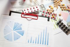 Medical marketing and healthcare business analysis report with graph. Medical marketing and Health care business analysis report. Pile of pills in blister packs Stock Photo