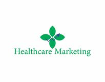 Medical marketing logo. A logo that combines three symbols, leaf as in organic and natural, an arrow line as in marketing graphicons, and the leafs are arranged Stock Images