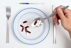 Medical Meal of pills and tablets Royalty Free Stock Photography