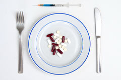 Medical Meal of pills and tablets Royalty Free Stock Images