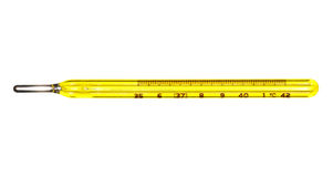 Medical Mercury Thermometer. Yellow medical mercury thermometer. Isolated on white Royalty Free Stock Photography
