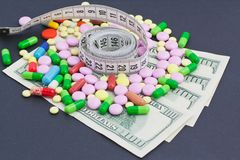 Medical meter and pills Stock Images