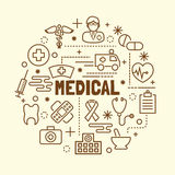 Medical minimal thin line icons set Stock Image