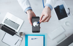 Medical mobile app and technology Royalty Free Stock Photography