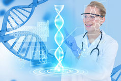 Medical models wearing glasses and white coat against DNA graphics background. Digital composite of Medical models with DNA graphics or backgrounds royalty free stock photos