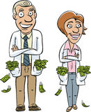 Medical Money. Two cartoon doctors with pockets overflowing with money Royalty Free Stock Photo