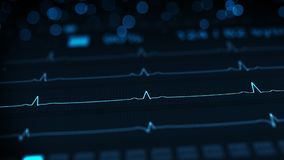 Medical monitor with blue lines of ECG rendering with DOF. Medical monitor with blue lines of ECG. Abstract healthcare concept. Computer generated rendering with Royalty Free Stock Images