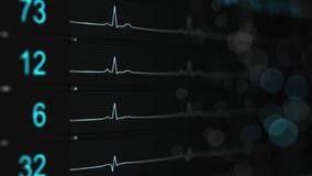 Medical monitor with blue lines of ECG rendering with DOF. Medical monitor with blue lines of ECG. Abstract healthcare concept. Computer generated rendering with Stock Photography