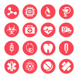 Medical monochrome red icons Stock Photo
