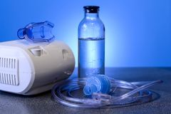 Medical nebulizer for the treatment of bronchitis. Camera agains Royalty Free Stock Photos
