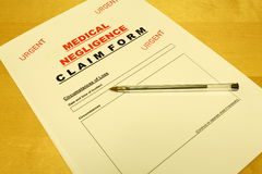 Medical Negligence Claim Form Stock Images
