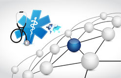 Medical network connection coverage Stock Images