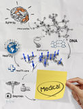 Medical network on sticky note crumpled paper from recycle envel Stock Image