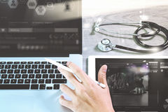 Medical network technology concept. Doctor hand working with ste Stock Photography