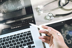 Medical network technology concept. Doctor hand working with ste Stock Image