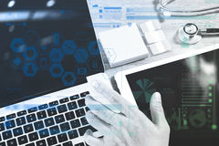 Medical network technology concept. Doctor hand working with ste Stock Photo