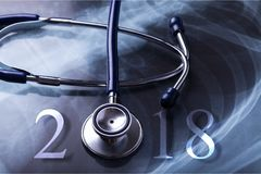 Medical. New year banner beats blue calendar royalty free stock photography