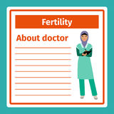 Medical notes about fertility doctor. Medical professional notes about fertility specialist vector template Stock Images