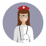 Medical nurse avatar. Flat icon of medical nurse. Flat design royalty free illustration