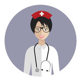 Medical nurse avatar. Flat icon of medical nurse. Flat vector design Royalty Free Stock Photography