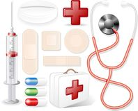 Medical Objects. Stethoscope, Syringe, patches and other Medical Elements Stock Image