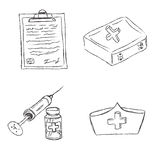 Medical, objects, sketch, vector, illustration Stock Photo