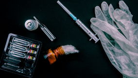 Medical Objects Still Life Seen From Above  Stock Footage