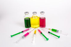 Medical objects still life  on white background. Syringes with v Royalty Free Stock Image