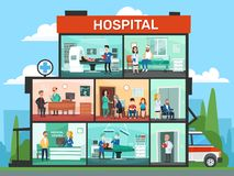 Medical office rooms. Hospital building interior, emergency clinic doctor waiting room and surgery doctors cartoon. Medical office rooms. Hospital building royalty free illustration