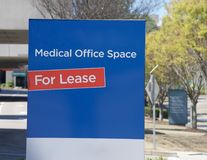Medical Office Space for Lease. Medical office space building property for lease sign Stock Images