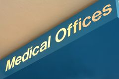 Medical Offices sign. A blue sign outdoors reads Medical Offices Stock Image