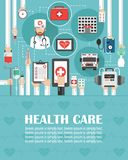 Medical online call flat design with ambulance,hospital,and doctor isolated.lorem ipsum is simply text. Vector illustration stock illustration