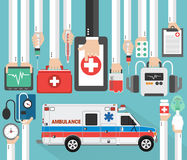 Medical online design flat with ambulance. Vector illustration Stock Photography